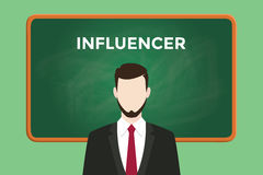 Influencer white text illustration with a bearded man wearing black suit standing in front of green chalk board Royalty Free Stock Photo