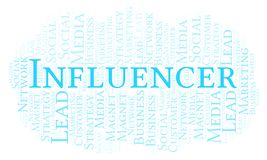 Influencer word cloud. Wordcloud made with text only stock illustration