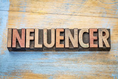 Influencer word in wood type. Influencer - word abstract in vintage letterpress wood type printing blocks stock photography