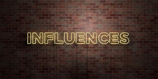 INFLUENCES - fluorescent Neon tube Sign on brickwork - Front view - 3D rendered royalty free stock picture Stock Photos