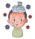 Influensa eller dålig förkylning - pojkebild stock illustrationer