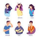 Influensatecken Folk som visar kall sjukdom Feberhosta, snorkyla, svindel Vektortecken för influensa stock illustrationer