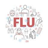 Influensatecken influensa behandling Illustration i vektor Linje symbolsuppsättning stock illustrationer