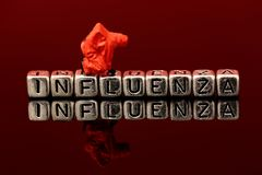 Influenza on beads with miniature scale model chemical team Royalty Free Stock Images