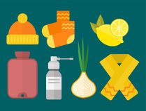 Influenza and cold themed design elements in trendy flat design health medical disease vector Stock Photos