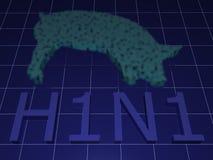 Influenza dei maiali - H1N1 illustrazione di stock