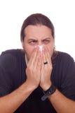 Influenza e naso soffocante Fotografia Stock Libera da Diritti