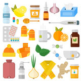 Influenza flu icons vector set. Royalty Free Stock Images