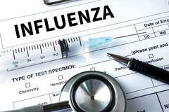 INFLUENZA headache because of influenza virus , Medical Concept Royalty Free Stock Images