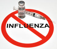 Influenza Vaccine. Illustration depicting a no influenza icon and a mock flu vaccine Royalty Free Stock Photo