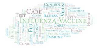 Influenza Vaccine word cloud, made with text only. royalty free illustration