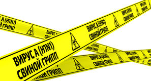 Influenza A virus subtype H1N1. Swine influenza. Yellow warning tapes Stock Image
