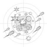 Influenza viruses and E coli Bacteria Stock Photo
