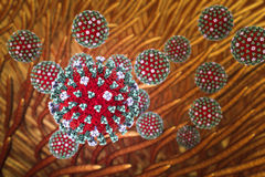 Influenza viruses infecting respiratory system Royalty Free Stock Photos