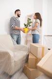 Inflyttning, lycklig man och kvinnlig som packar upp askar som rymmer växten royaltyfri fotografi