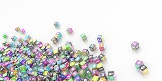 Infnite kuber med nummer Arkivfoton