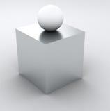 Info astratto 3D - cubo e sfera bianchi Fotografia Stock