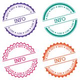 Info badge isolated on white background. Flat style round label with text. Circular emblem vector illustration Stock Photos