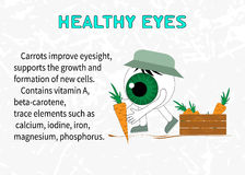 Info about the benefits of carrot for eyesight Stock Images