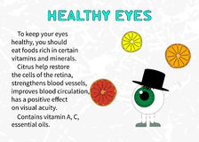 Info about the benefits of citrus for eyesight Stock Image