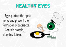 Info about the benefits of eggs for eyesight Royalty Free Stock Photo