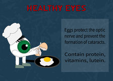 Info about the benefits of eggs for eyesight Royalty Free Stock Image