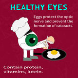 Info about the benefits of eggs for eyesight Royalty Free Stock Images