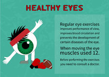 Info about benefits of gymnastics for the healthy eyes Royalty Free Stock Images