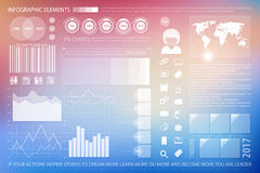Info blur. Infographic elements, technology website icons.  time line diagram, social media timetable, pie chart tools, blurred background. financial statistic Stock Photos