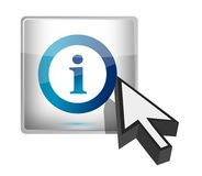 Info button with a cursor illustration design. Over white Stock Photography
