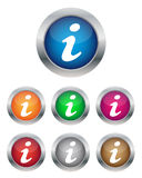 Info buttons. Collection of info buttons in various colors Royalty Free Stock Photo