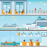 Info of Cruise ship terminal at sea port with moored transatlantic. Liner and cruise people, ticket counter,interior of cruise ship and cruise ship deck, travel Stock Photography