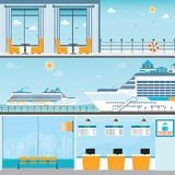 Info of Cruise ship terminal at sea port with moored transatlantic. Liner, ticket counter,interior of cruise ship and cruise ship deck, travel vector Stock Photos
