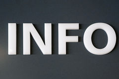 Info. 3d plastic white letters info at wall Royalty Free Stock Photo