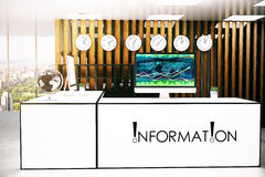 Info desk with forex chart. Front view of modern information desk with forex chart on computrer screen. 3D Rendering Royalty Free Stock Image