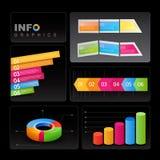 Info-diagram element på svart bakgrund. Royaltyfri Bild