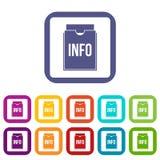 Info folder icons set flat Royalty Free Stock Photography