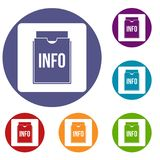 Info folder icons set. In flat circle red, blue and green color for web Stock Images