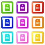 Info folder set 9. Info folder icons of 9 color set isolated vector illustration Stock Photo