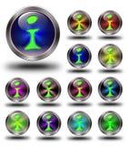 De glanzende pictogrammen van info, gekke kleuren. Stock Foto