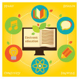Info grafic about electronic education and science. Modern flat illustration. Design element royalty free illustration