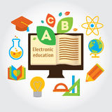 Info grafic about electronic education and science. Modern flat illustration. Design element vector illustration