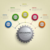 Info graphic with abstract colored desig gears template. Vector eps 10 Royalty Free Stock Photo