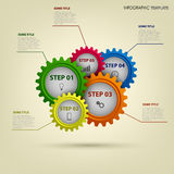 Info graphic with abstract colored gears template Royalty Free Stock Images