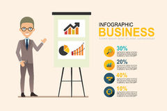 Info graphic business man present with chart Royalty Free Stock Images