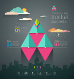 Info graphic business triangle rockets design Royalty Free Stock Image