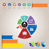 Info graphic chart, icon and pie graph Stock Images