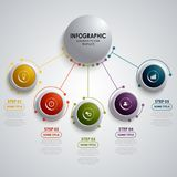 Info graphic with circular design element pointers template Royalty Free Stock Photos