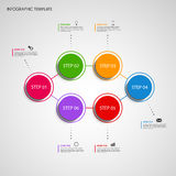 Info graphic with colored design round pointer template Stock Photography