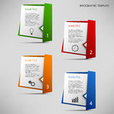 Info graphic with colored folded paper pointers template Stock Photography